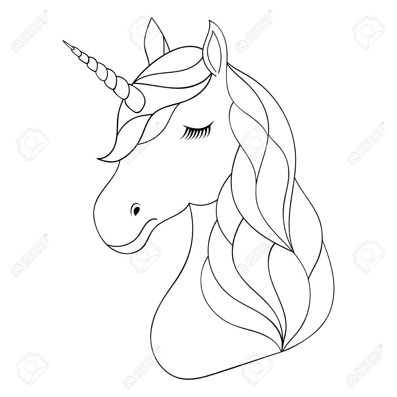 Unicorn Head Drawing At Getdrawings