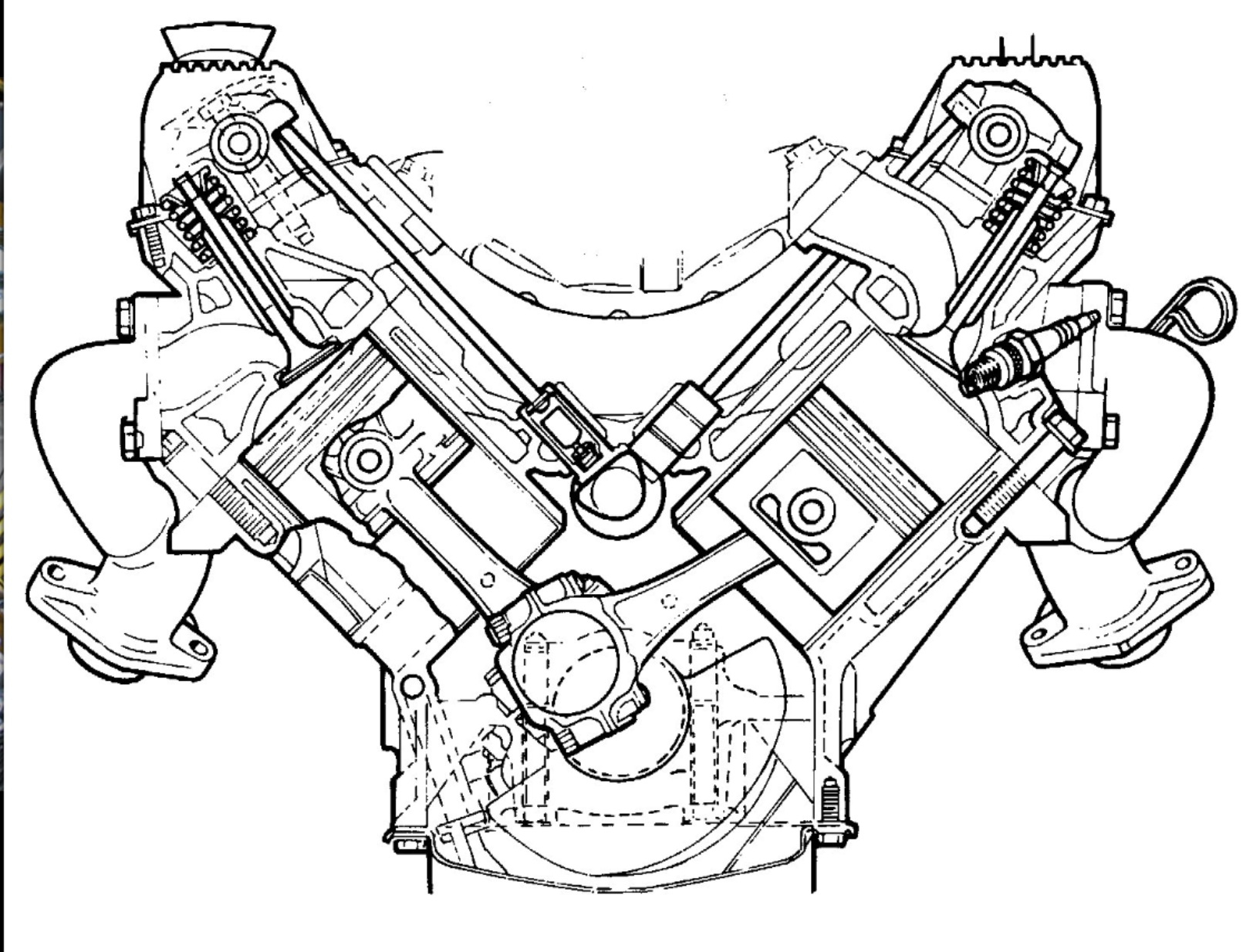 V8 Engine With Blower Side View