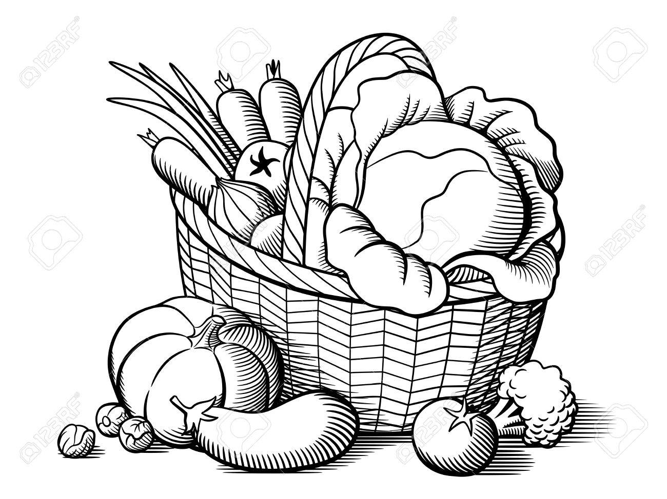 Vegetable Basket Drawing At Getdrawings