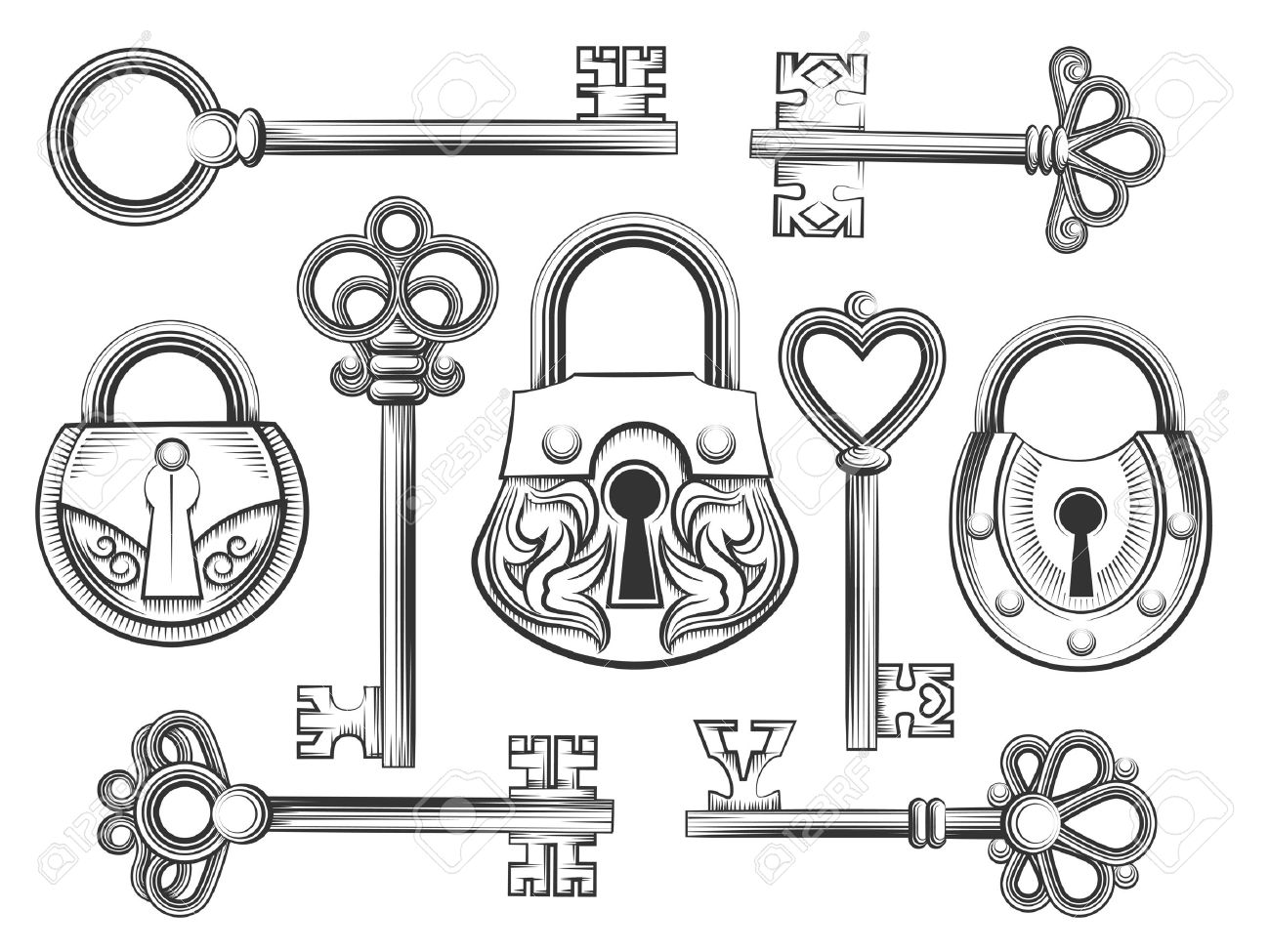 Vintage Key Drawing At Getdrawings