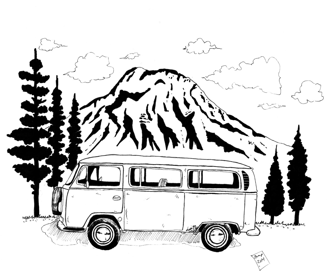 Volkswagen Bus Drawing At Getdrawings