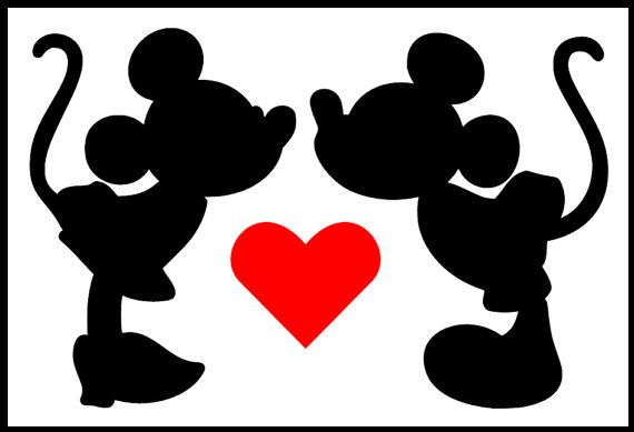 Download Minnie And Mickey Kissing Silhouette at GetDrawings | Free ...