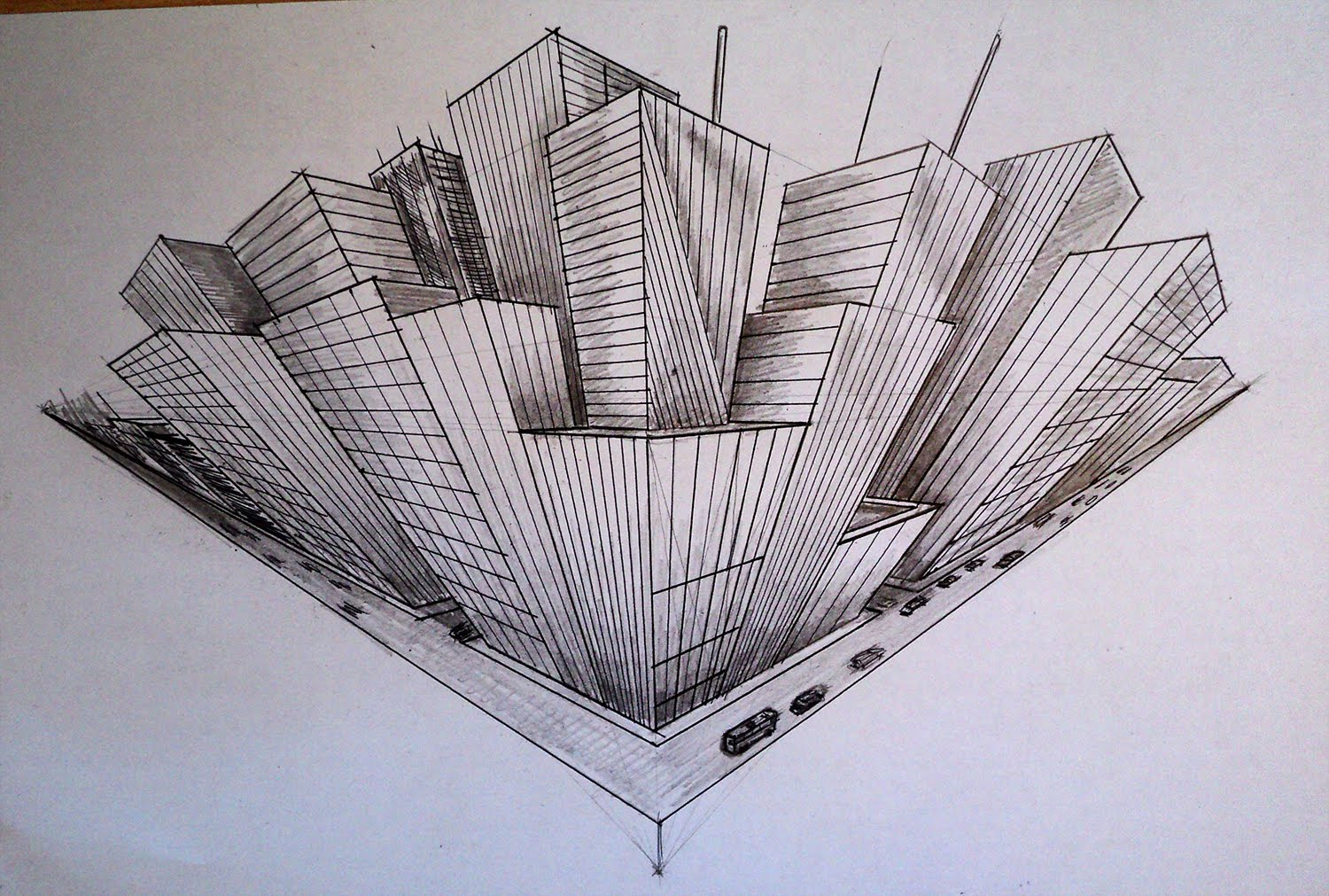 3 Point Perspective Drawing Birds Eye View At Getdrawings