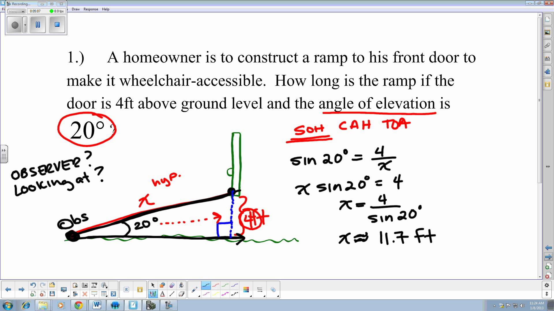 Angle Of Elevation And Depression Problems With Solutions
