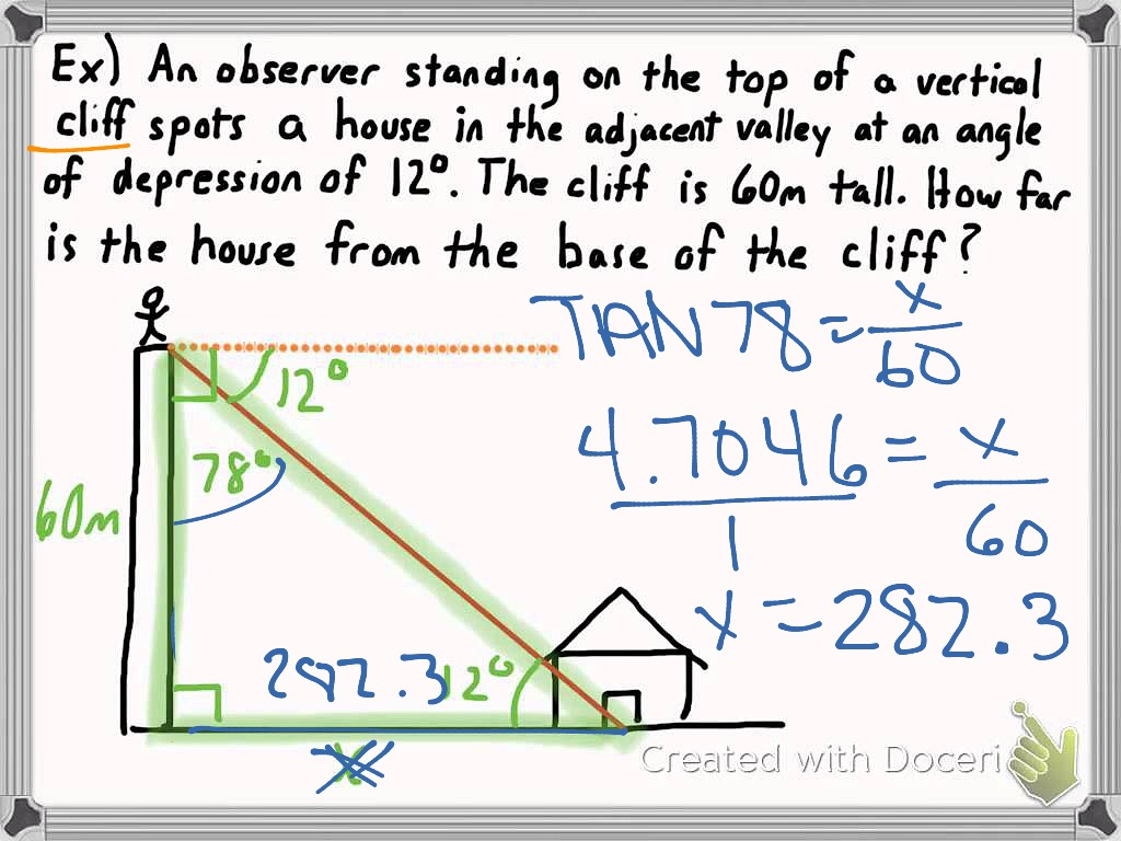 Angle Of Elevation And Depression Problems With Solutions And Drawing At Getdrawings