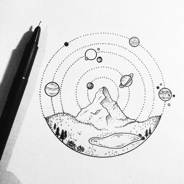 Space Aesthetic Drawing at PaintingValleycom Explore