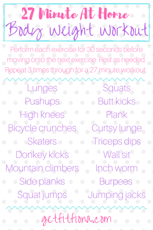 27 Minute At Home Body Weight Workout