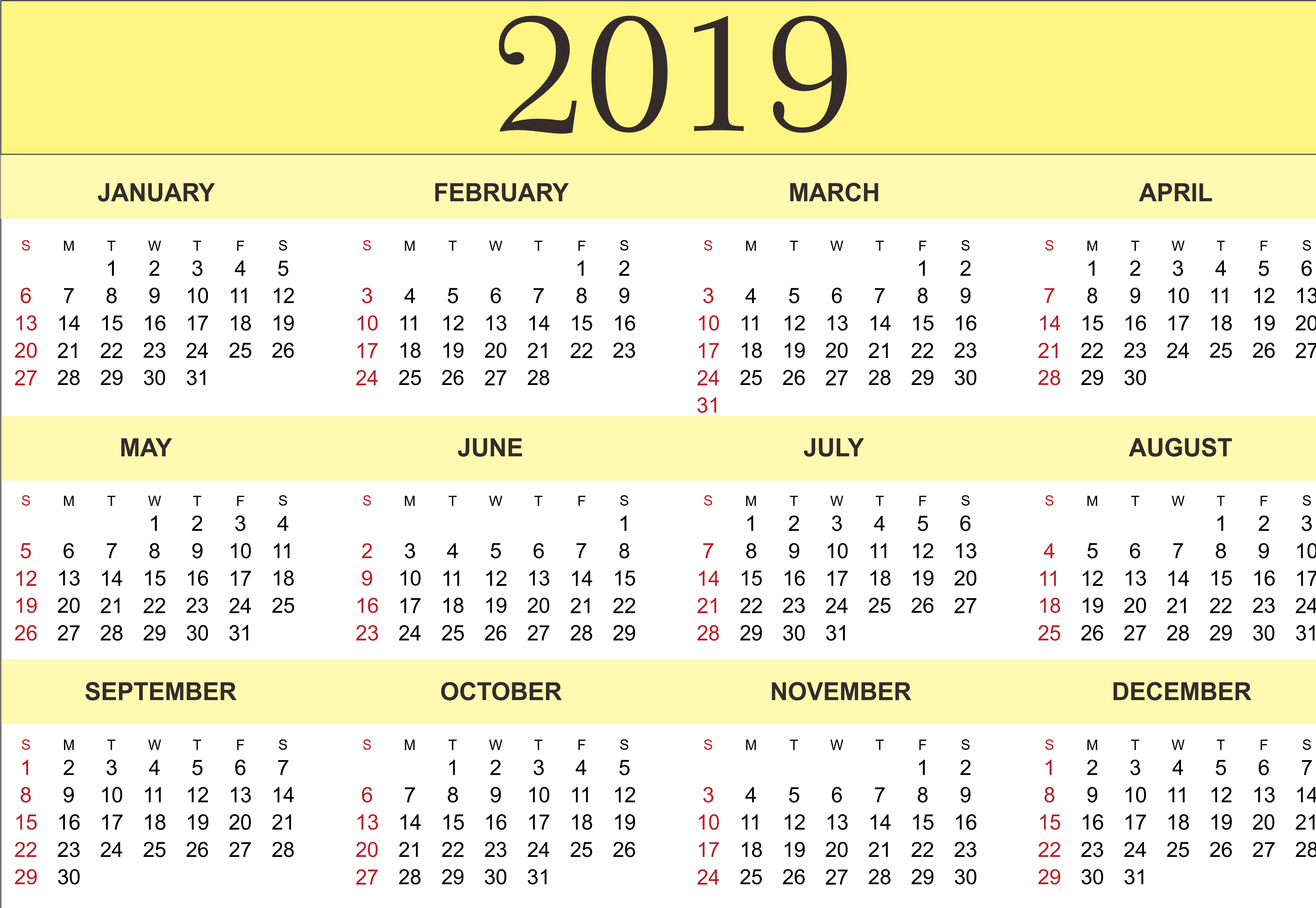 2019 printable calendar templates - pdf excel word