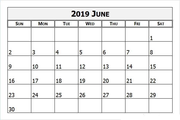 graphic about Printable June identified as June 2019 Printable Calendar Templates - Absolutely free PDF Holiday seasons