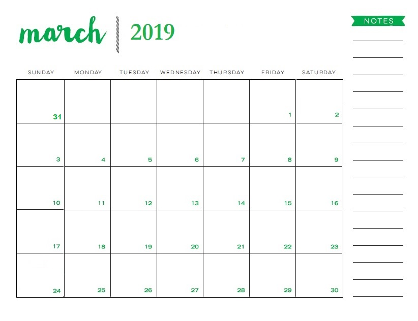 March 2019 Printable Calendar Templates Free Pdf Word