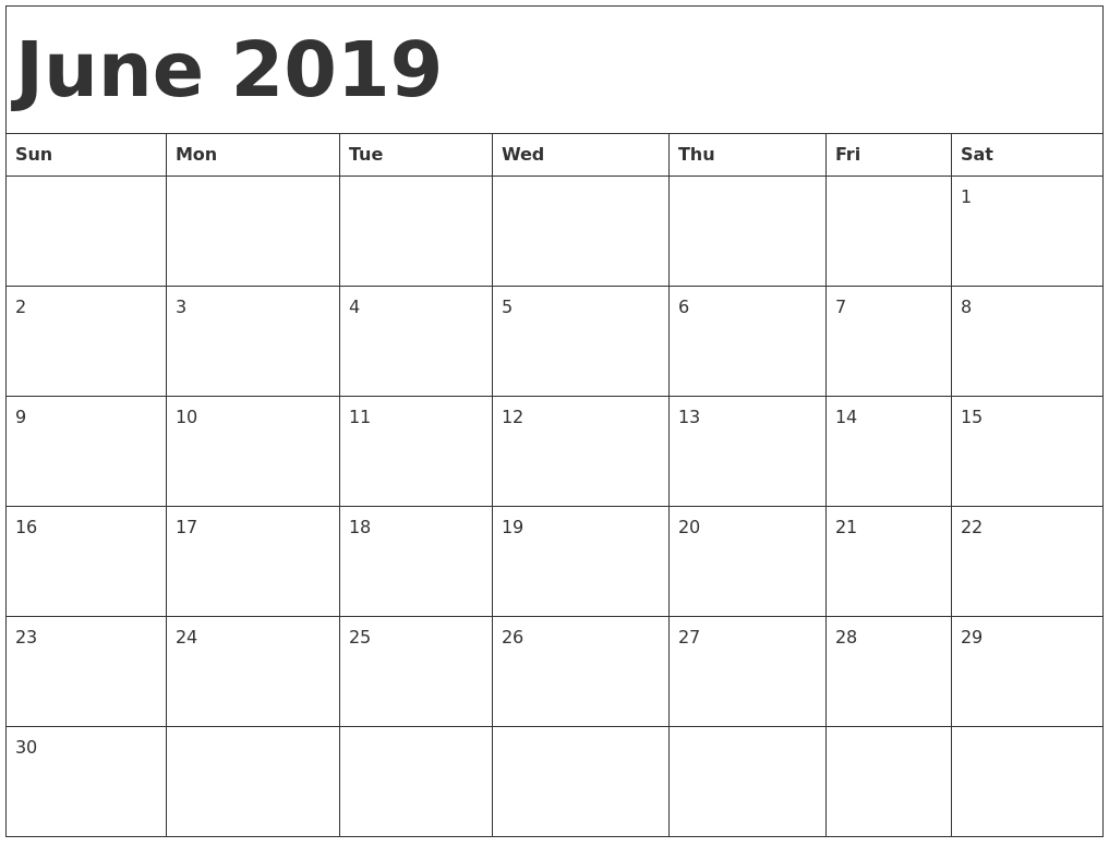 Free Blank Calendars 2019 June 2019 Printable Calendar Templates   Free PDF Holidays   Free
