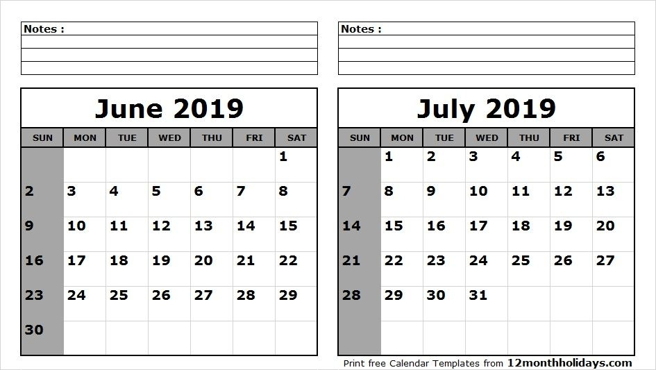 Calendar Of June.June And July 2019 Calendar Printable Template Free Calendars
