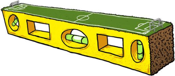cartoon bubble level with soccer field on top transparent background freepoint technologies
