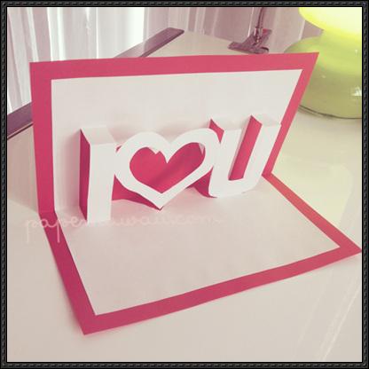 Card Paper Craft I Love U Pop Up Card V2 Papercraft card paper craft|getfuncraft.com