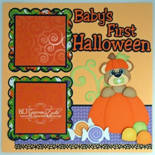 Ornaments to Apply on Halloween Scrapbook Pages Blj Graves Studio Bas First Halloween Scrapbook Page