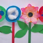 Paper Craft For Kids Flowers Flower Craft Free Kids Pop Sticks Easy Patty Pans1 paper craft for kids flowers|getfuncraft.com