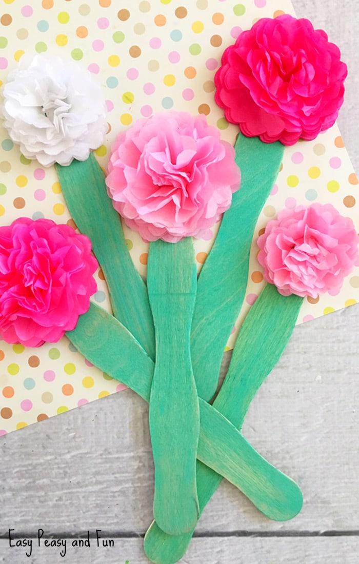 Paper Craft For Kids Flowers Tissue Paper Flower Craft For Kids To Make paper craft for kids flowers|getfuncraft.com