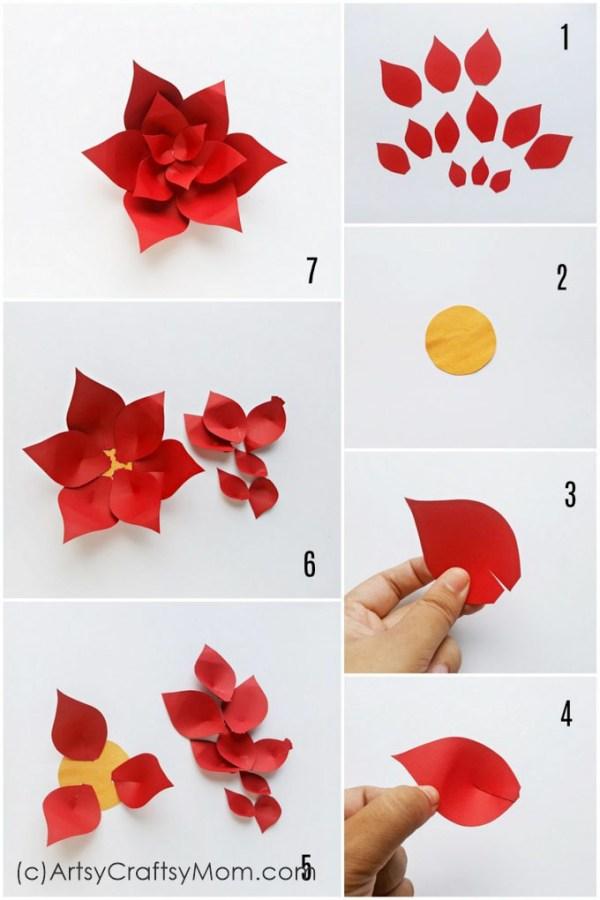 Paper Poinsettia Craft Paper Poinsetteia Wreath Craft Test 1 paper poinsettia craft|getfuncraft.com