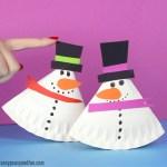 Snowman Paper Plate Craft Rocking Paper Plate Snowman Craft snowman paper plate craft|getfuncraft.com