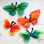 Tissue Paper Butterfly Craft Pipe Cleaner Tissue Butterfly Craft Step 7 tissue paper butterfly craft|getfuncraft.com