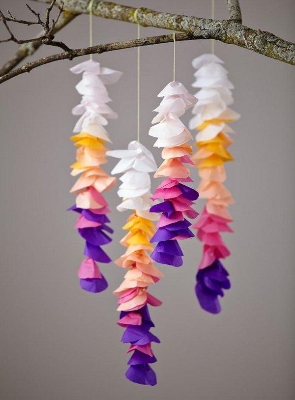 Tissue Paper Crafts Ideas Diy Tissue Wisteria Mobile tissue paper crafts ideas|getfuncraft.com