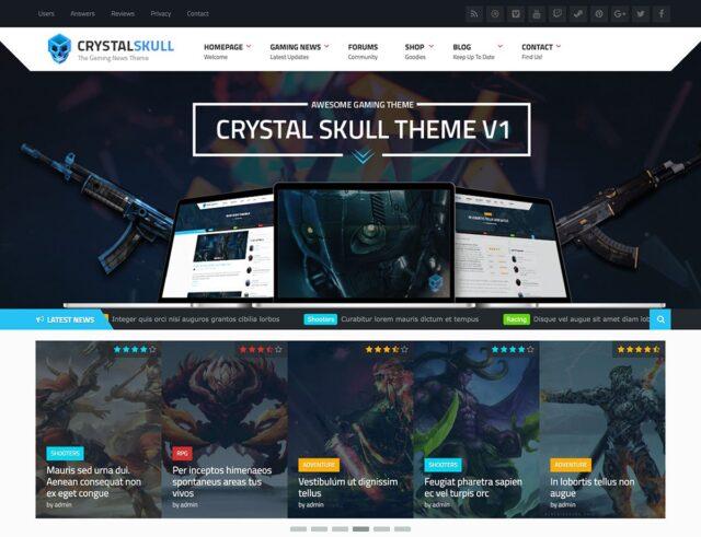 CrystalSkull Gaming Magazine WordPress Theme