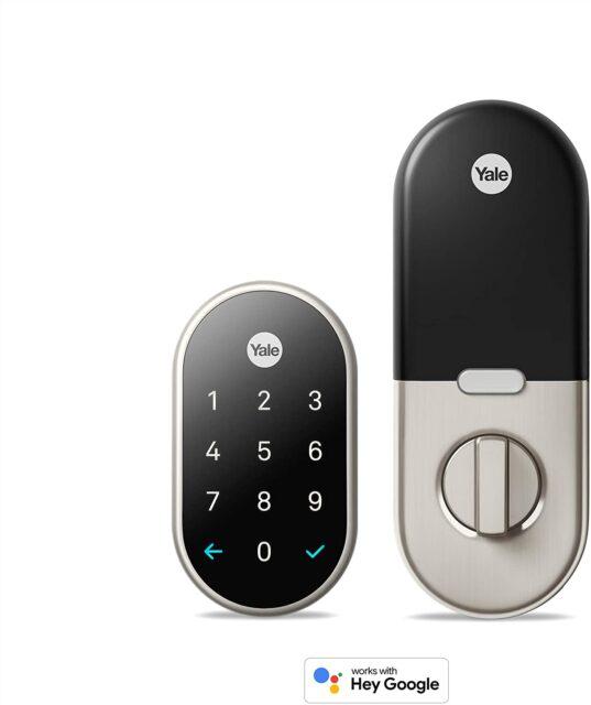 Google Nest x Yale Lock - Tamper-Proof Smart Lock for Keyless Entry - Keypad Deadbolt Lock for Front Door - Works with Nest Secure Alarm System - [Nickel]