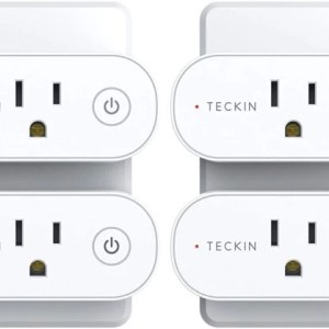 Smart Plug TECKIN Mini WiFi Outlet 15A, Works with Alexa and Google Home, Voice & App Remote Control, Schedule and Timer Function, No Hub Required, 4 Packs