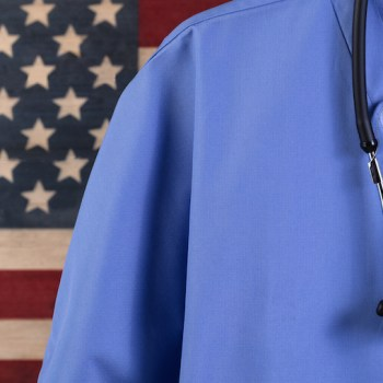 Photo of Flag with Stethoscope from Generations Now Oakland Marketing Agency Lisa LaMagna