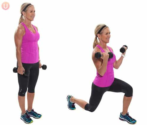 Chis Freytag demonstrating forward lunge with bicep curl in a pink tank top with black dumbbells