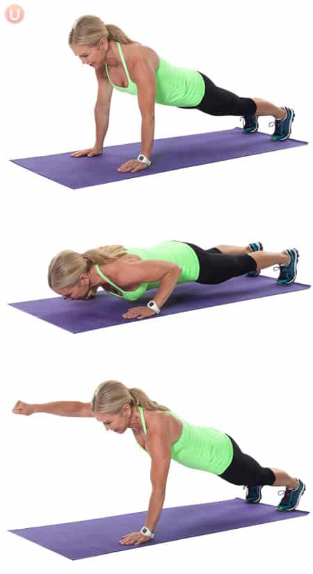 Do push-up punches to work your biceps and triceps.