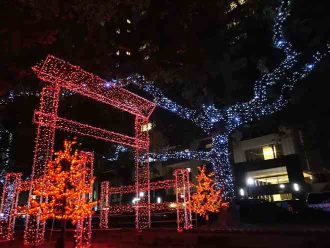 Miyajima's great torii gate renderred in LEDs as part of Hiroshima's Dreamination winter illuminations