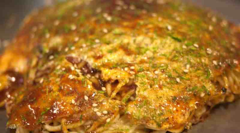 Okonomiyaki at Nagataya near Peace Memorial Park in Hiroshima, Japan