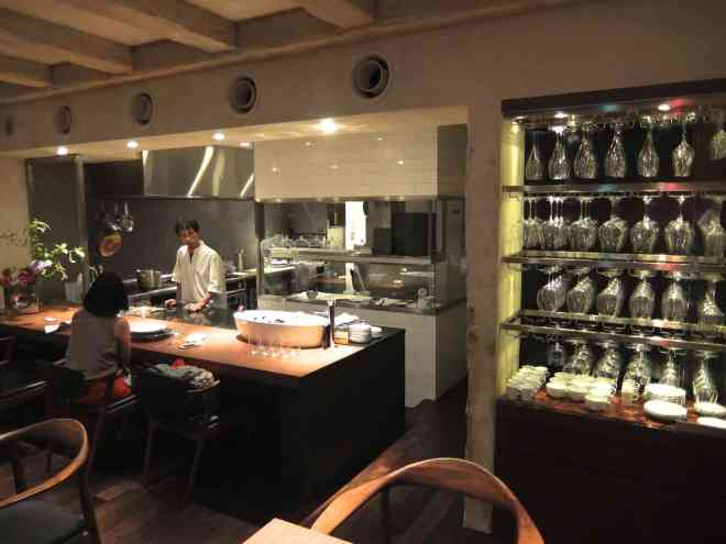 View of the interior of Michelin starred restaurant Hiroto in Hiroshima, Japan
