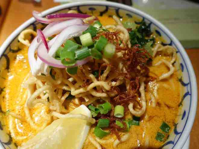 Ciang Mai crispy noodle curry at Sawadee Lemongrass Grill Thai restaurant in Hiroshima, Japan