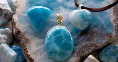 Beautiful Larimar stone jewelry at Fleur Bleue in Hiroshima, Japan