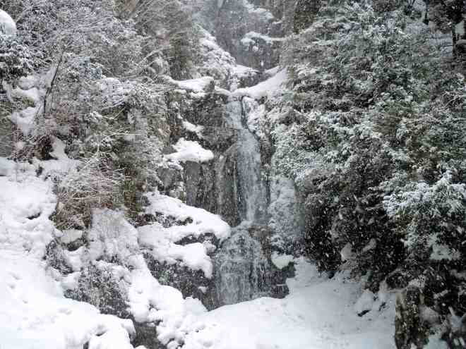 Josei-daki falls in Sakugi in Miyoshi, Hiroshima, Japan in winter