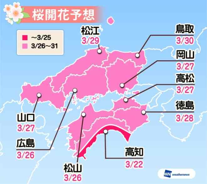 weather news cherry blossom forecast chugoku region including hiroshima