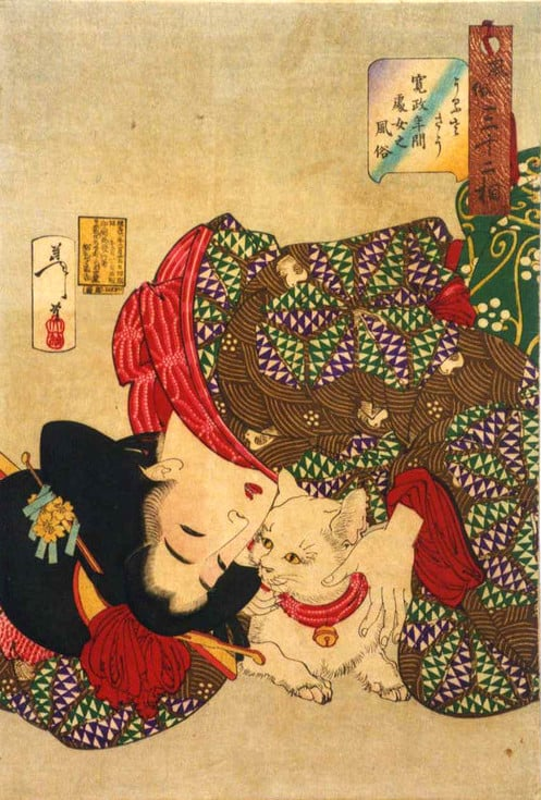 TSUKIOKA YOSHITOSHI (1839-1892) Teasing the cat Woodblock print, from the series Fuzoku sanjuniso (Thirty-Two Aspects of Women)