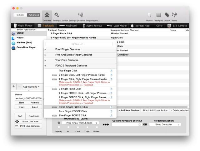 BetterTouchTool Mac OS X