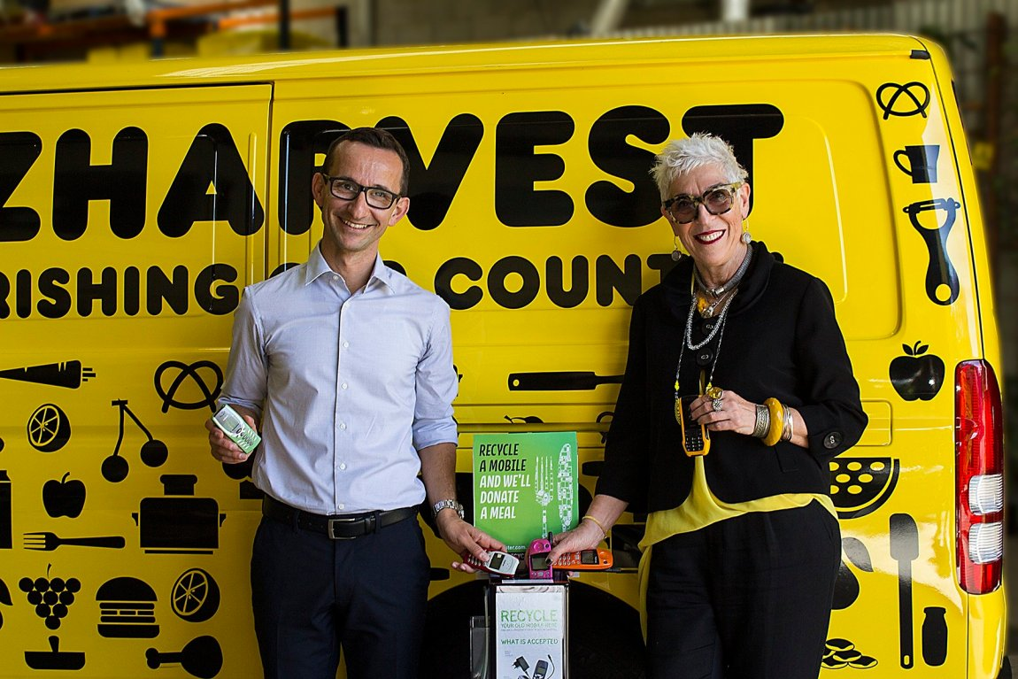 2. Spyro Kalos (L) and Ronni Kahn (R) in front of OzHarvest Van recycling phones