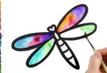 Paint and Draw a colorful Rainbow Dragonfly with Watercolors