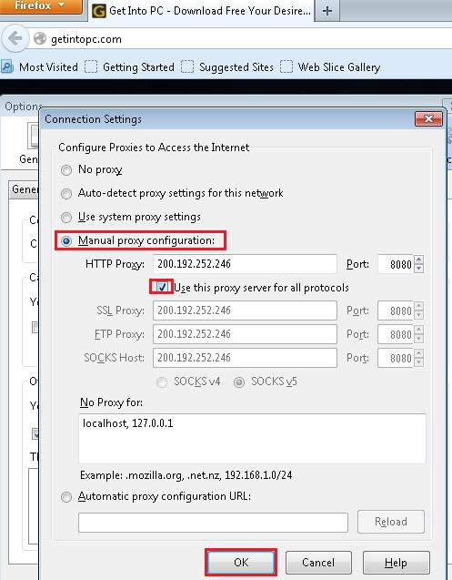 Step 4 Change proxy setting in Mozilla
