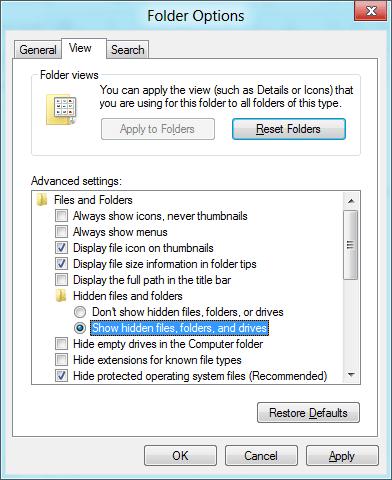 show hidden files folders in windows 8