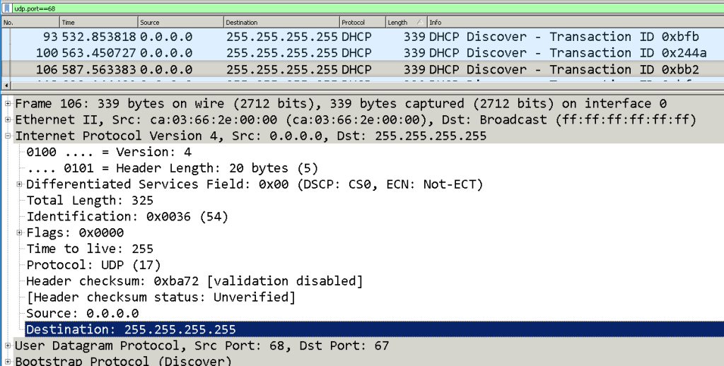 DHCPDISCOVER  packet in Wireshark.