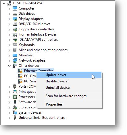 udpate windows 10 ethernet driver in kvm