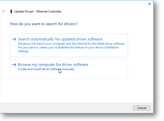 browse for the driver