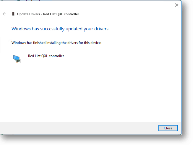 Red Hat QXL controller installed successfully on windows 10
