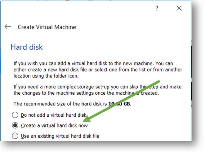 select the hard disk for Ubuntu VM