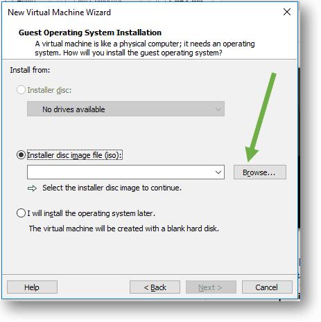 select the installer disk image file for vmware workstation pro